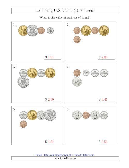 The Counting Small Collections of U.S. Coins Including Half and One Dollar Coins (I) Math Worksheet Page 2