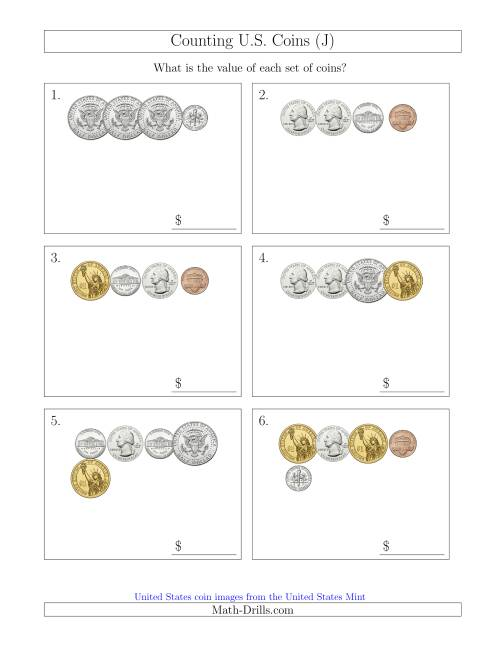 The Counting Small Collections of U.S. Coins Including Half and One Dollar Coins (J) Math Worksheet