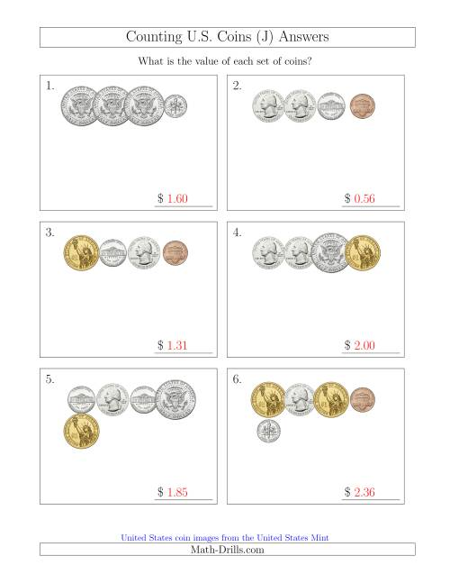The Counting Small Collections of U.S. Coins Including Half and One Dollar Coins (J) Math Worksheet Page 2