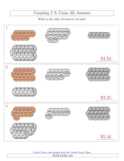 The Counting U.S. Coins Sorted Version (B) Math Worksheet Page 2