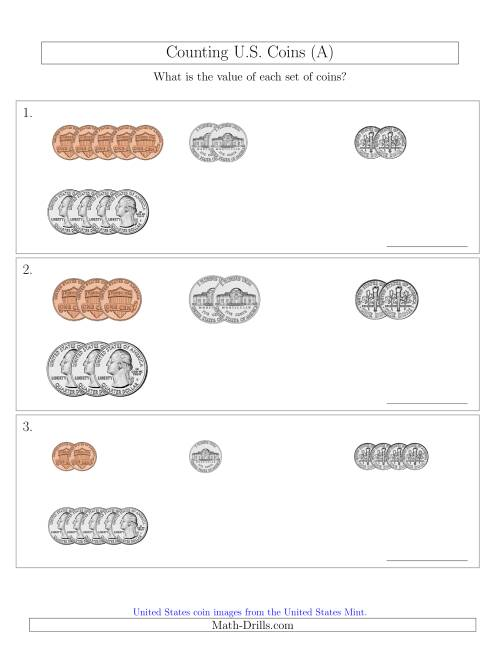The Counting Small Collections of U.S. Coins Sorted Version (A) Math Worksheet