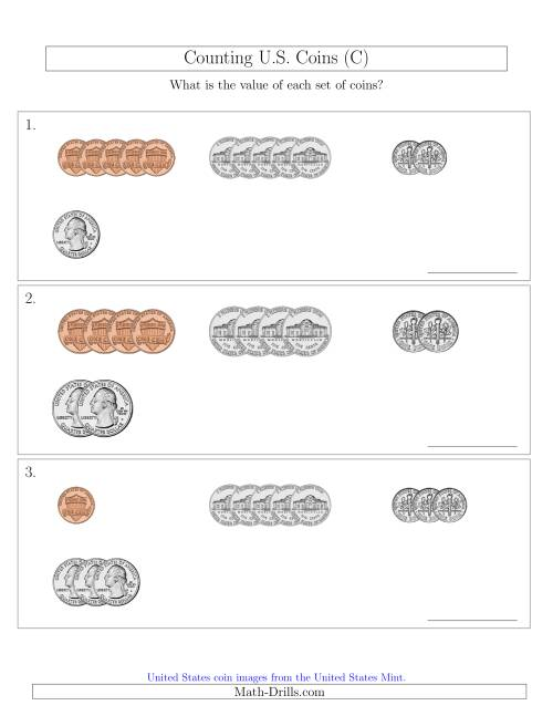 The Counting Small Collections of U.S. Coins Sorted Version (C) Math Worksheet