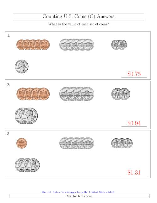 The Counting Small Collections of U.S. Coins Sorted Version (C) Math Worksheet Page 2