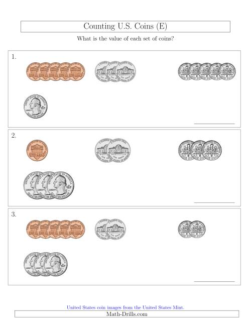 The Counting Small Collections of U.S. Coins Sorted Version (E) Math Worksheet