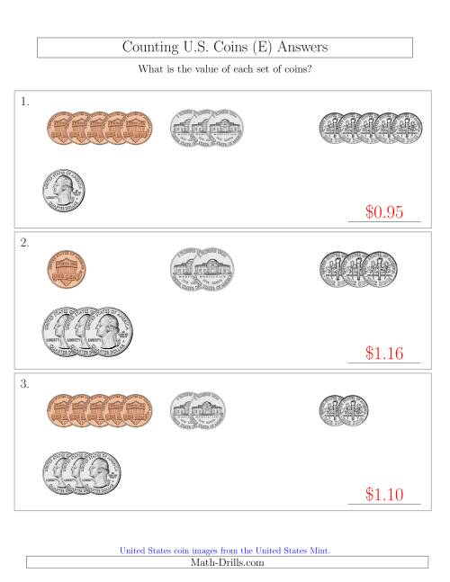 The Counting Small Collections of U.S. Coins Sorted Version (E) Math Worksheet Page 2