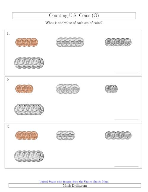The Counting Small Collections of U.S. Coins Sorted Version (G) Math Worksheet