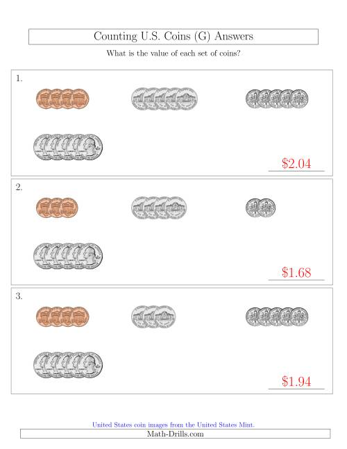 The Counting Small Collections of U.S. Coins Sorted Version (G) Math Worksheet Page 2