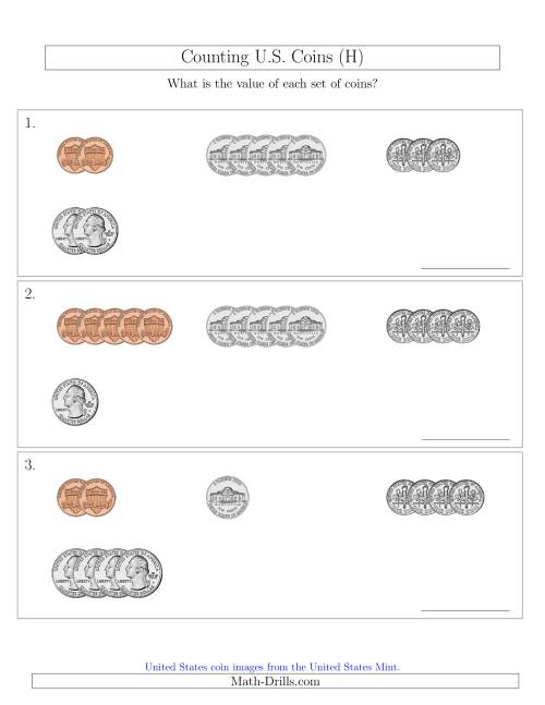 The Counting Small Collections of U.S. Coins Sorted Version (H) Math Worksheet
