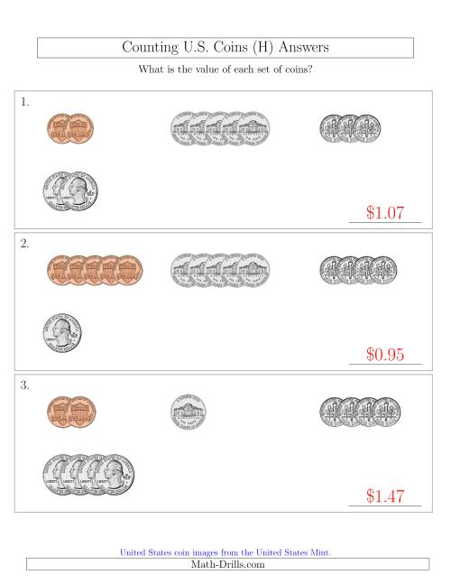 The Counting Small Collections of U.S. Coins Sorted Version (H) Math Worksheet Page 2