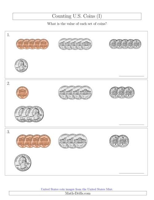 The Counting Small Collections of U.S. Coins Sorted Version (I) Math Worksheet