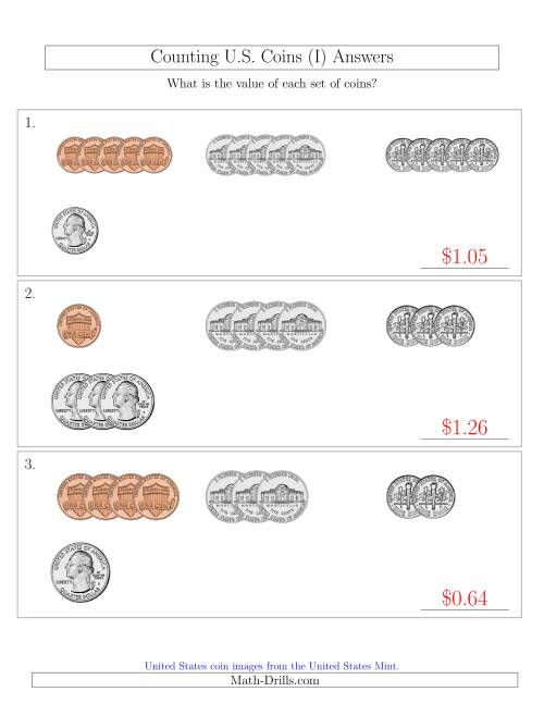The Counting Small Collections of U.S. Coins Sorted Version (I) Math Worksheet Page 2