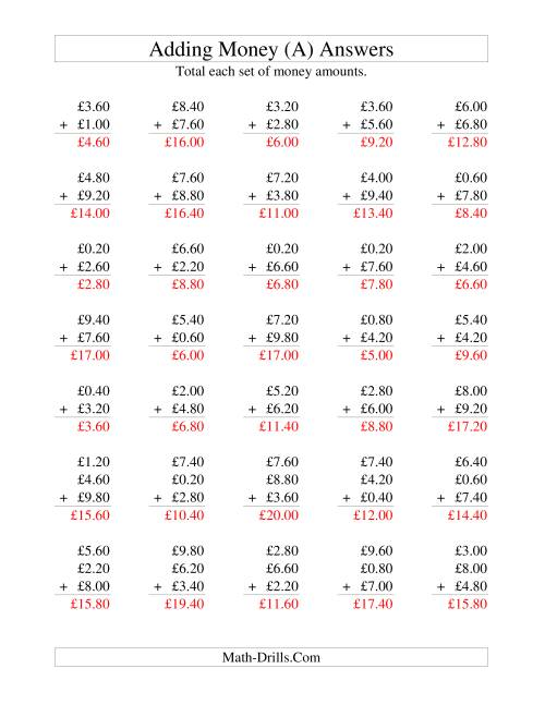The Adding British Money to £10 -- Increments of 20 Pence (A) Math Worksheet Page 2