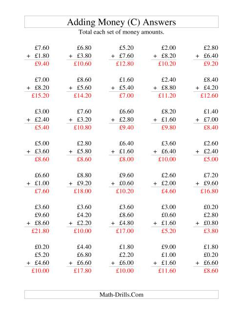 The Adding British Money to £10 -- Increments of 20 Pence (C) Math Worksheet Page 2