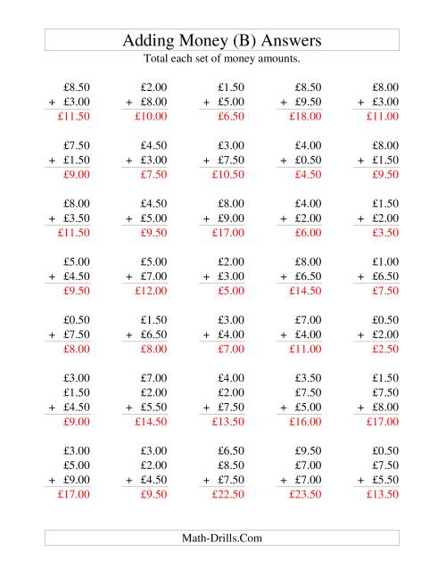 The Adding British Money to £10 -- Increments of 50 Pence (B) Math Worksheet Page 2