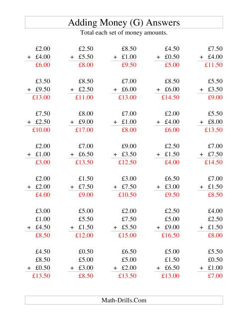 The Adding British Money to £10 -- Increments of 50 Pence (G) Math Worksheet Page 2