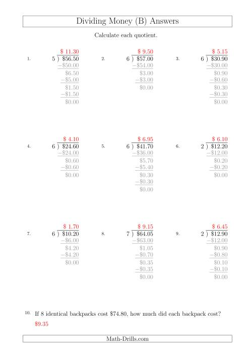 The Dividing Dollar Amounts in Increments of 5 Cents by One-Digit Divisors (A4 Size) (B) Math Worksheet Page 2