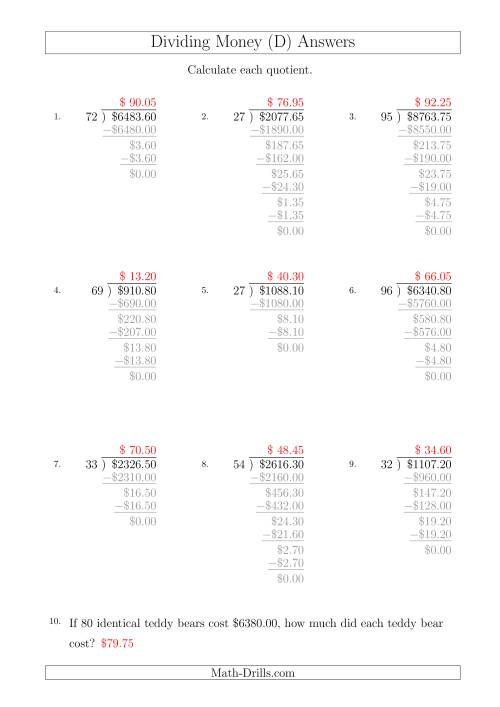 The Dividing Dollar Amounts in Increments of 5 Cents by Two-Digit Divisors (A4 Size) (D) Math Worksheet Page 2