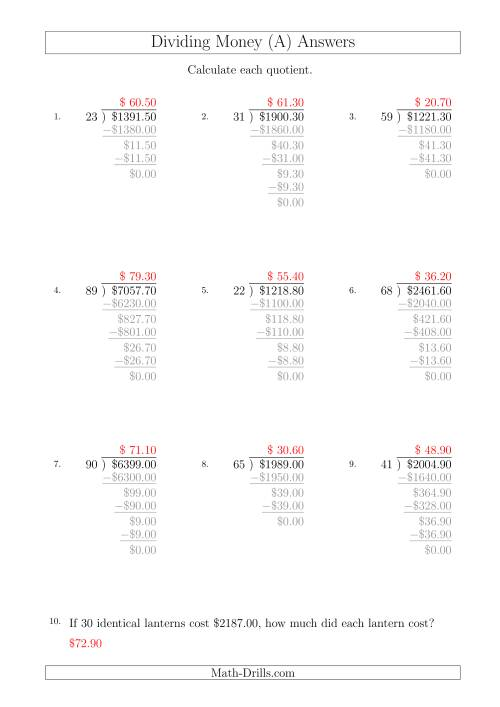 The Dividing Dollar Amounts in Increments of 10 Cents by Two-Digit Divisors (A4 Size) (A) Math Worksheet Page 2