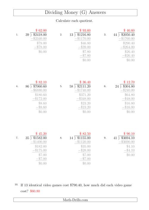 The Dividing Dollar Amounts in Increments of 10 Cents by Two-Digit Divisors (A4 Size) (G) Math Worksheet Page 2