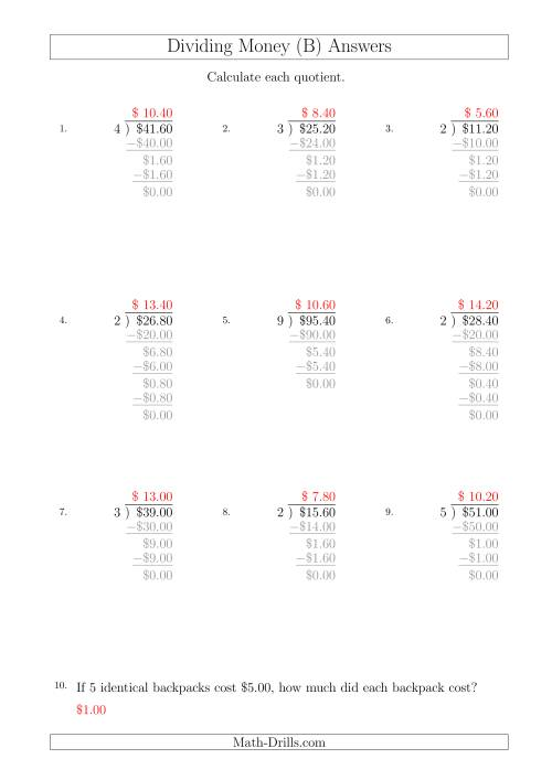 The Dividing Dollar Amounts in Increments of 20 Cents by One-Digit Divisors (A4 Size) (B) Math Worksheet Page 2
