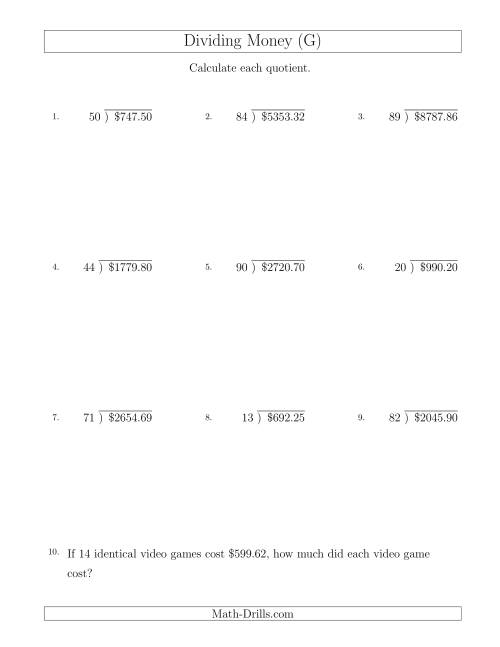 The Dividing Dollar Amounts by Two-Digit Divisors (G) Math Worksheet