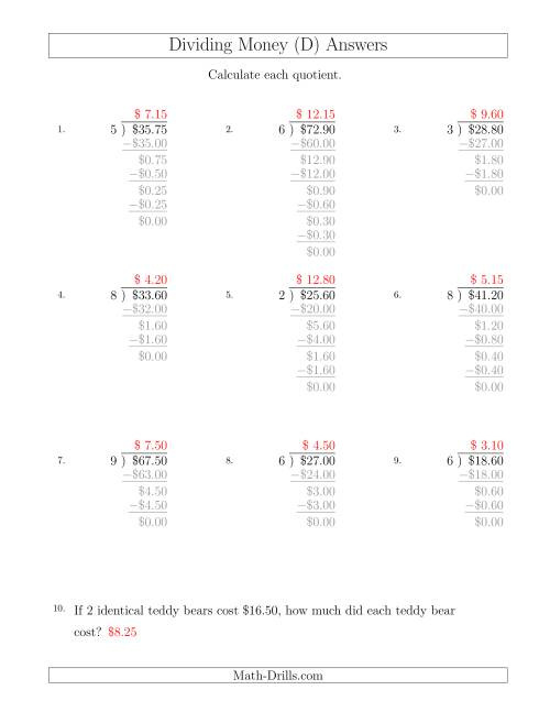 The Dividing Dollar Amounts in Increments of 5 Cents by One-Digit Divisors (D) Math Worksheet Page 2