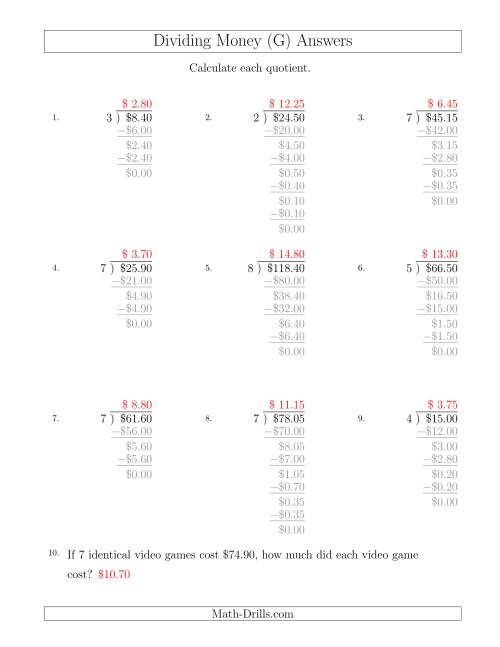 The Dividing Dollar Amounts in Increments of 5 Cents by One-Digit Divisors (G) Math Worksheet Page 2