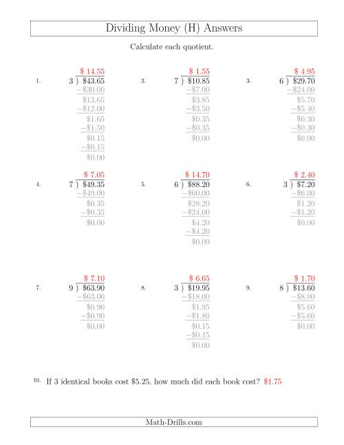 The Dividing Dollar Amounts in Increments of 5 Cents by One-Digit Divisors (H) Math Worksheet Page 2