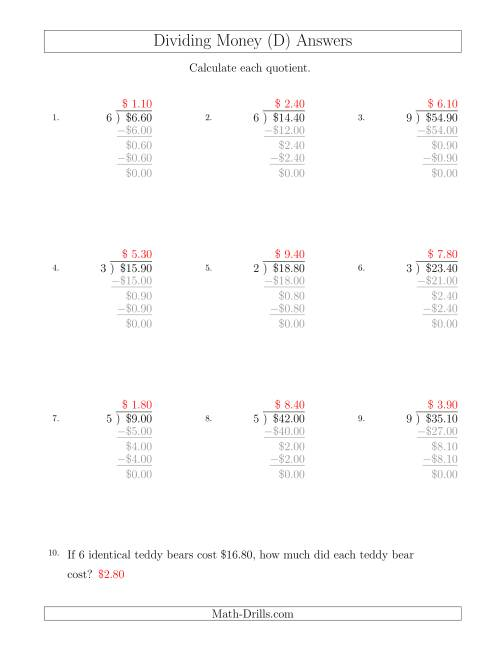 The Dividing Dollar Amounts in Increments of 10 Cents by One-Digit Divisors (D) Math Worksheet Page 2