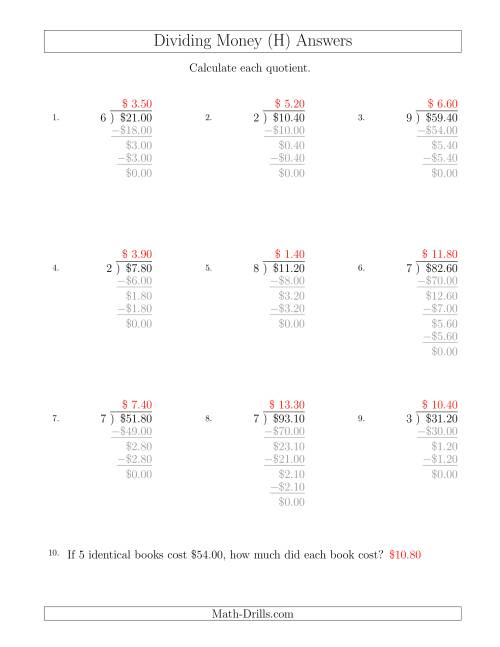 The Dividing Dollar Amounts in Increments of 10 Cents by One-Digit Divisors (H) Math Worksheet Page 2