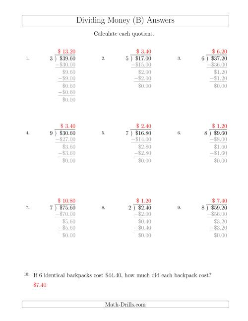 The Dividing Dollar Amounts in Increments of 20 Cents by One-Digit Divisors (B) Math Worksheet Page 2