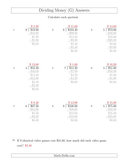 The Dividing Dollar Amounts in Increments of 20 Cents by One-Digit Divisors (G) Math Worksheet Page 2