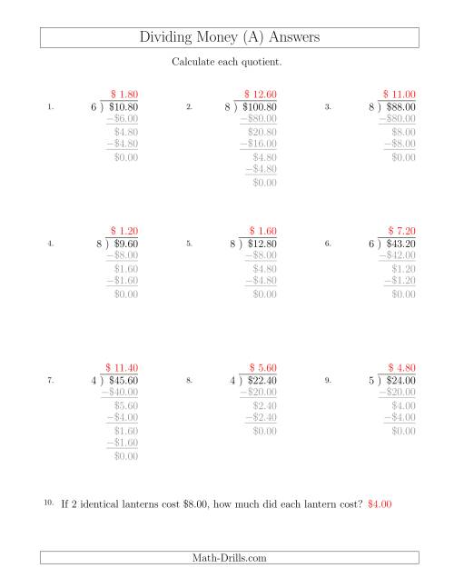 The Dividing Dollar Amounts in Increments of 20 Cents by One-Digit Divisors (All) Math Worksheet Page 2