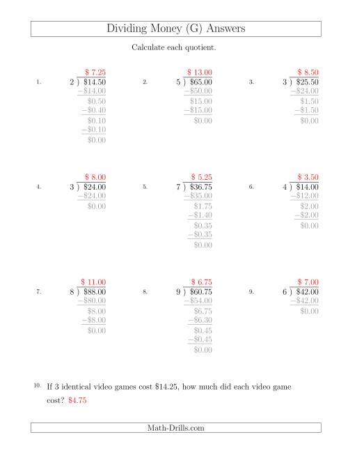 The Dividing Dollar Amounts in Increments of 25 Cents by One-Digit Divisors (G) Math Worksheet Page 2
