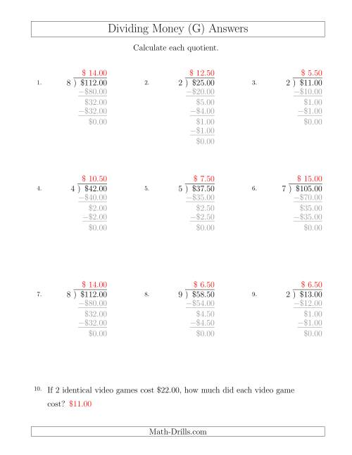 The Dividing Dollar Amounts in Increments of 50 Cents by One-Digit Divisors (G) Math Worksheet Page 2