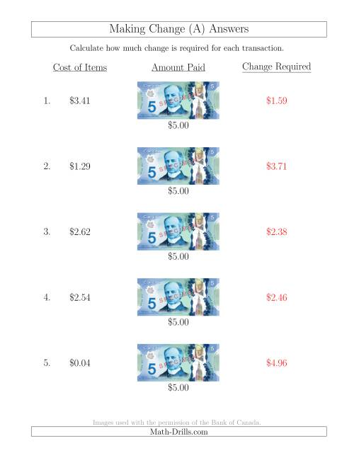 The Making Change from Canadian $5 Bills (A) Math Worksheet Page 2