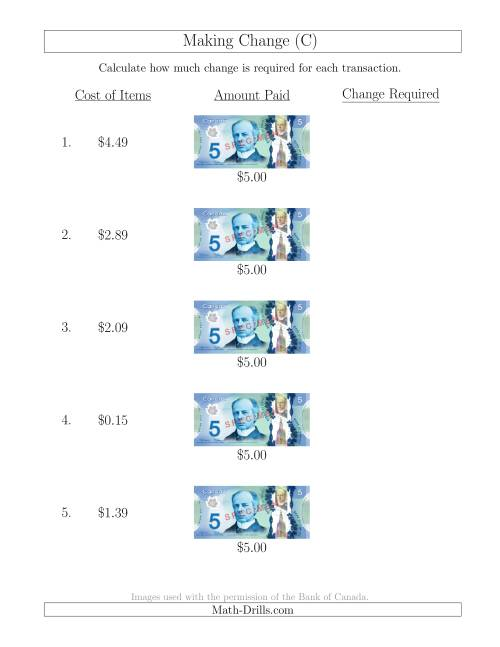 The Making Change from Canadian $5 Bills (C) Math Worksheet
