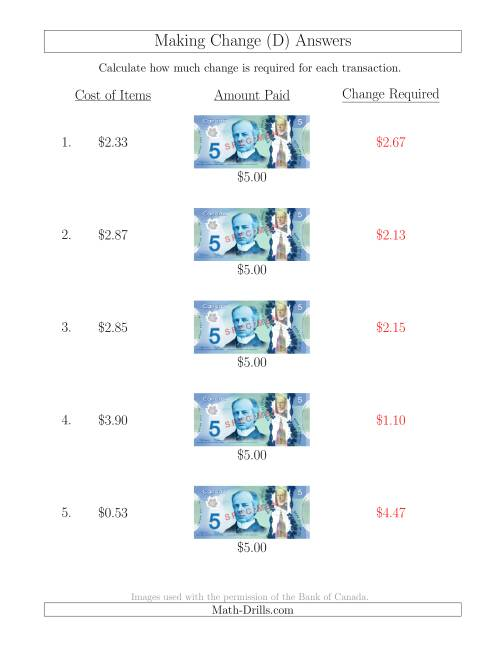 The Making Change from Canadian $5 Bills (D) Math Worksheet Page 2