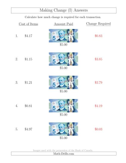 The Making Change from Canadian $5 Bills (I) Math Worksheet Page 2