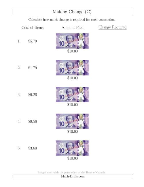 The Making Change from Canadian $10 Bills (C) Math Worksheet