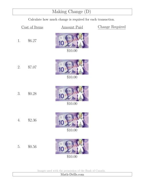 The Making Change from Canadian $10 Bills (D) Math Worksheet