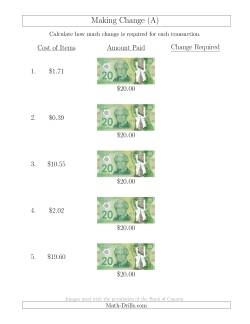 Making Change from Canadian $20 Bills