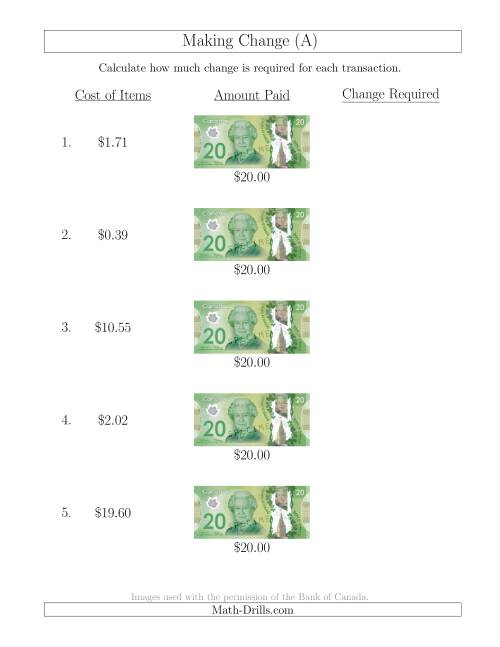 The Making Change from Canadian $20 Bills (A) Math Worksheet