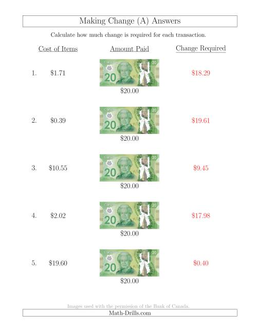 The Making Change from Canadian $20 Bills (A) Math Worksheet Page 2