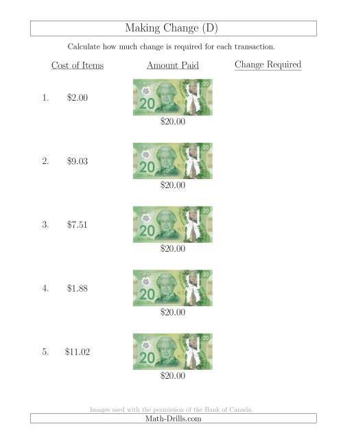 The Making Change from Canadian $20 Bills (D) Math Worksheet
