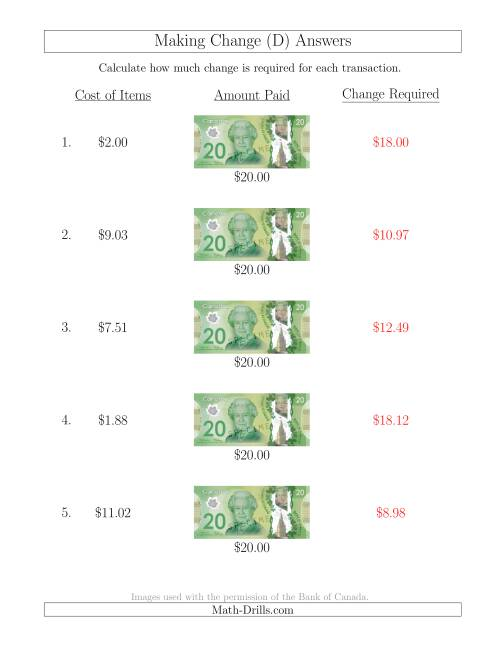 The Making Change from Canadian $20 Bills (D) Math Worksheet Page 2