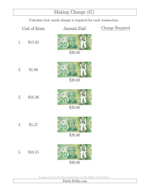 The Making Change from Canadian $20 Bills (G) Math Worksheet