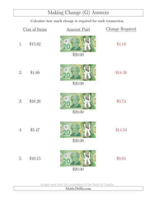 The Making Change from Canadian $20 Bills (G) Math Worksheet Page 2