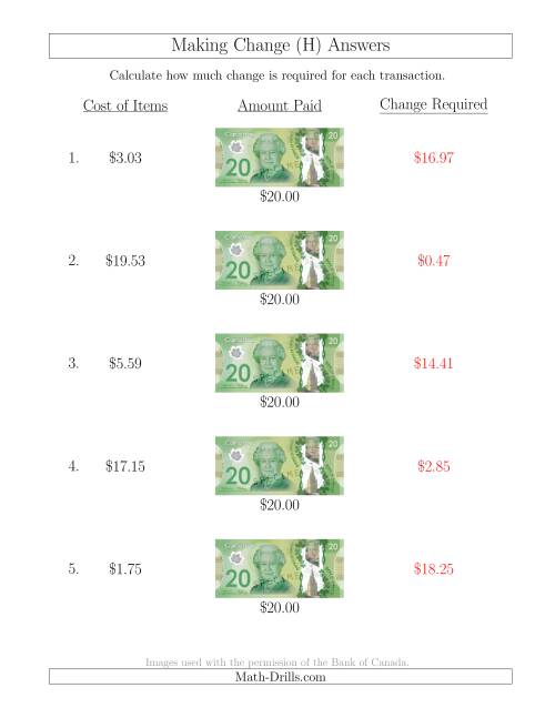 The Making Change from Canadian $20 Bills (H) Math Worksheet Page 2