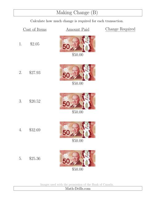 The Making Change from Canadian $50 Bills (B) Math Worksheet